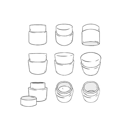 Hand drawn vector illustration of blank template packaging pot front back profile side view set on white background. White plastic cosmetic jar product.