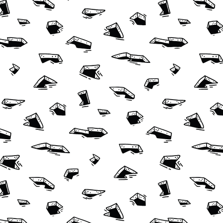 Hand drawn vector illustration of hole on the ground pattern.Abstract doodle wallpaper. Stock Illustratie