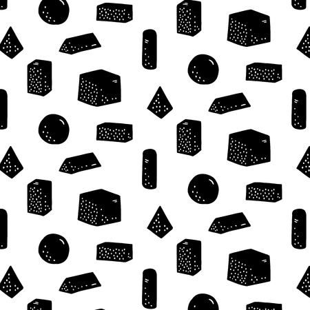 Hand drawn vector illustration of geometric shape pattern.Abstract doodle wallpaper.