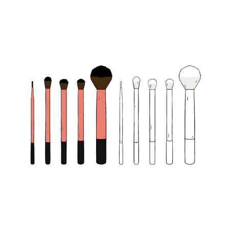 Hand drawn vector illustration of cosmetic makeup brush set on white background.