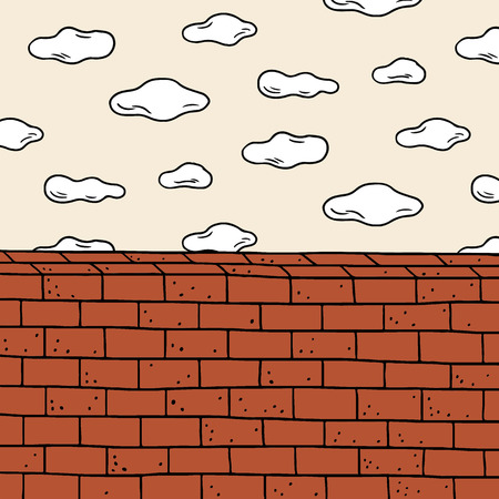 Hand drawn vector illustration of cloud and red brick wall. Doodle wallpaper. Stock Illustratie