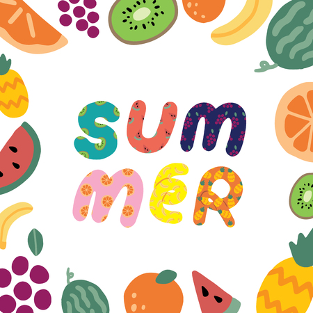 Hand drawn vector illustration of summer text and fruit frame on white background.Abstract doodle wallpaper.