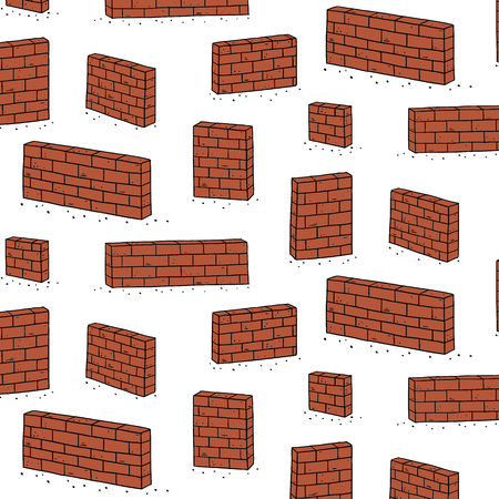 Hand drawn vector illustration of red brick wall pattern.Abstract doodle wallpaper.