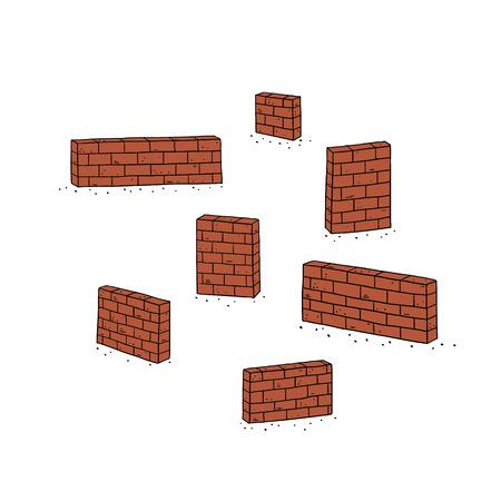 Hand drawn vector illustration of red brick wall.