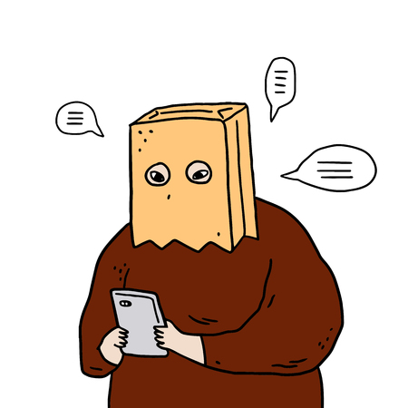 Hand drawn vector illustration of man with paper bag over head using smartphones. Stock Illustratie