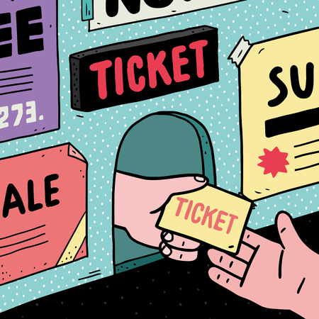 Hand drawn vector illustration of seller giving tickets to another hand at ticket office. Stock Illustratie