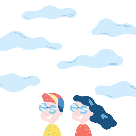 Hand drawn vector illustration of happy man and woman smiling on sky background. Young adult couple wearing sunglasses with reflection cloud in glasses.