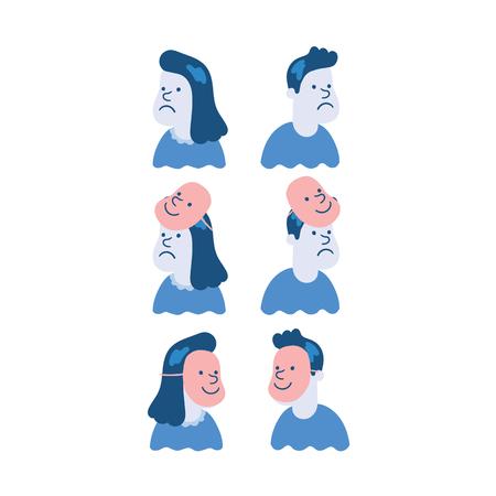 Hand drawn vector illustration of sad people under happy mask. Stock Illustratie