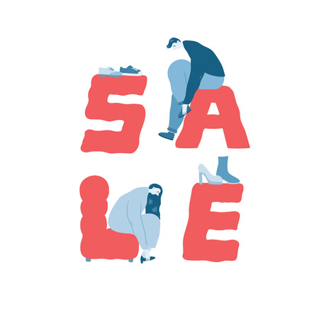 Hand drawn vector illustration of sale word and people trying on shoes.