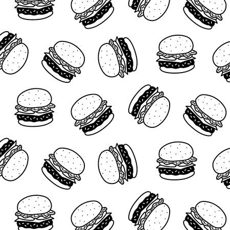 Hand drawn vector illustration of hamburger pattern. Black and white cartoon style. Stock Illustratie