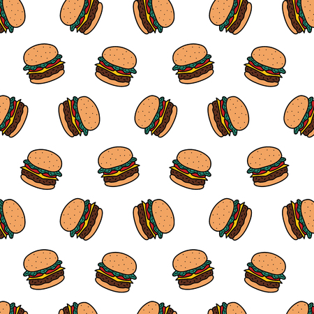 Hand drawn vector illustration of hamburger pattern in cartoon style.