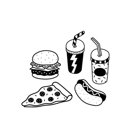 Hand drawn vector illustration of hamburger,pizza,hotdog,soft drink in cartoon style 向量圖像