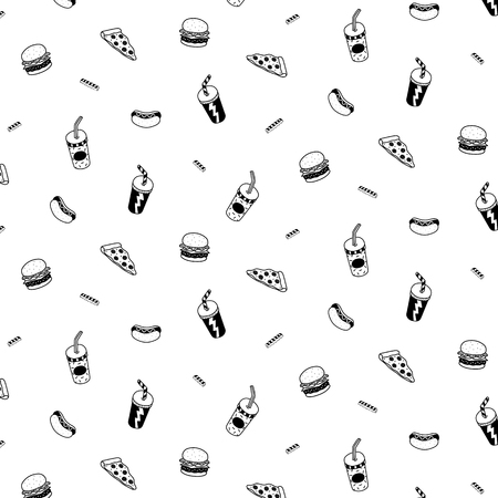 Hand drawn vector illustration of hamburger,pizza,hotdog,soft drink pattern.