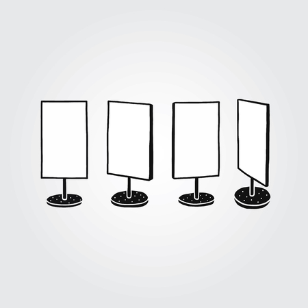 Hand drawn vector illustration of empty sign board stand set.