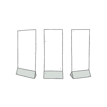 Hand drawn vector illustration of empty advertisement stand.Standing sign. 向量圖像