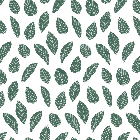 Hand drawn  illustration of green leaves pattern. wallpaper. 向量圖像