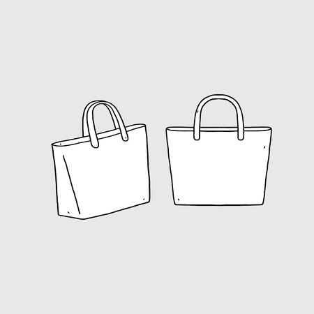Hand drawn  illustration of blank tote bag. 向量圖像