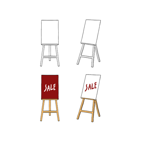Hand drawn vector illustration of board stand with blank frame.