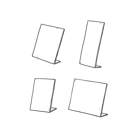 Hand drawn vector illustration of table sign holder. 向量圖像