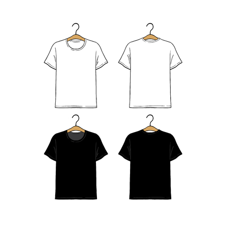 Set of blank hanging t-shirt design template hand drawn vector illustration. Front and back sides. White and black male shirt on white background. 向量圖像
