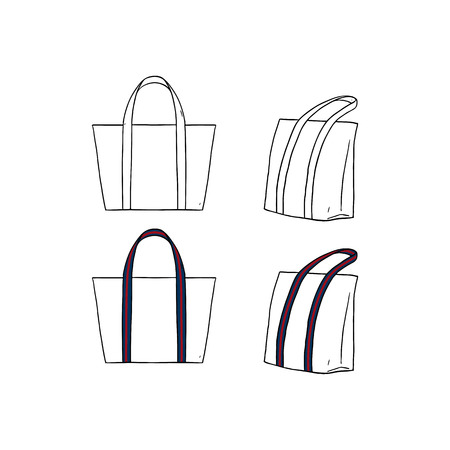 Hand drawn vector illustration of blank white with stripe straps tote bag on white background. Template fabric bag.canvas shopping bags.mock up.