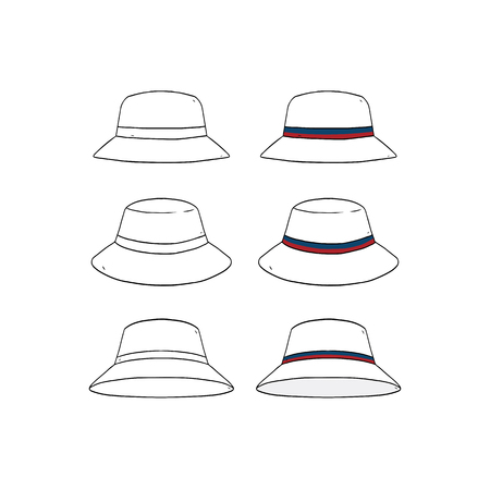 Set of blank striped bucket hat design template hand drawn vector illustration. 向量圖像