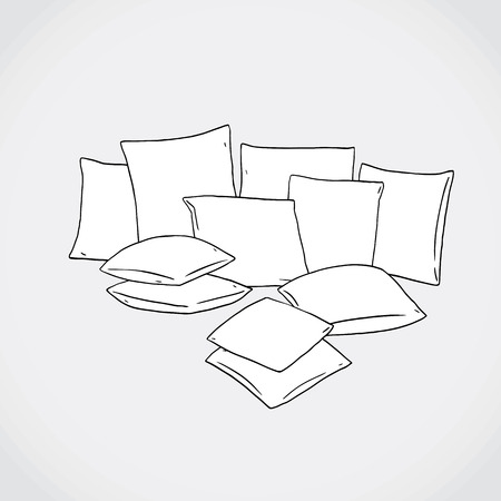 Hand drawn vector illustration of square pillow. 向量圖像