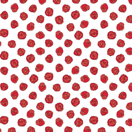 Hand drawn vector illustration of red rose pattern.Pattern for textile, fabric,wrapping paper. 向量圖像