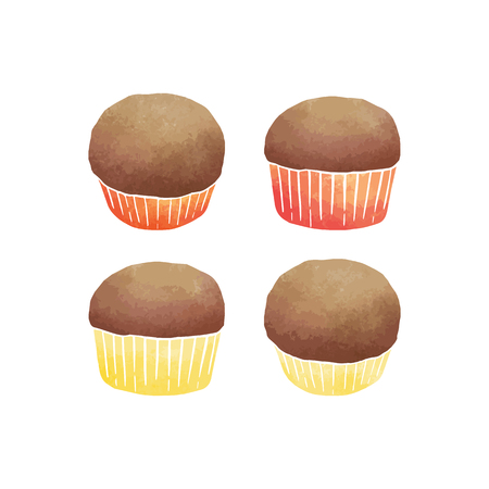 Hand drawn vector illustration of watercolor banana cupcakes on white background.