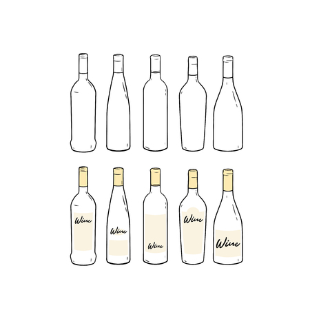 Set of blank template wine bottle hand drawn vector illustration. 向量圖像