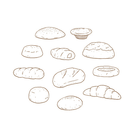 Set of bread and bakery product hand drawn vector illustration.