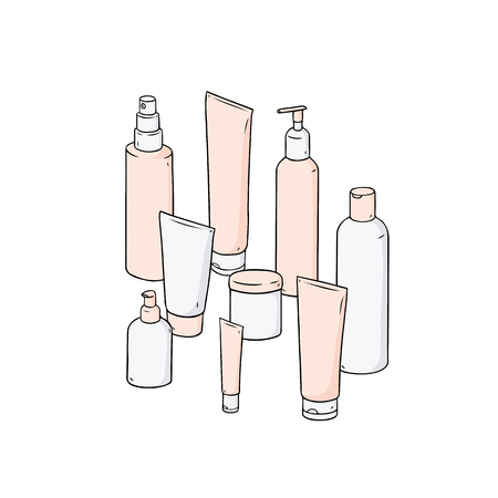 Set of blank template skin care hand drawn vector illustration.White plastic cosmetic jar product. 向量圖像