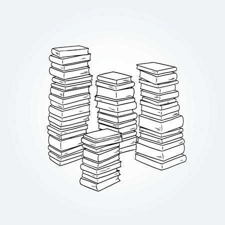 Hand drawn vector illustration of  pile of books.
