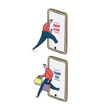 Hand drawn vector illustration of man using smart phone for online shopping. Man come out from mobile with shopping bag.