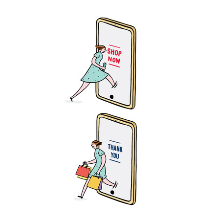 Hand drawn vector illustration of woman using smart phone for online shopping. Woman come out from mobile with shopping bag.