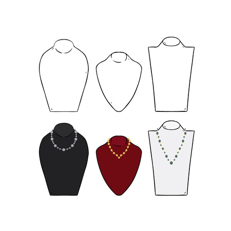 Hand drawn vector illustration of mannequin jewelry necklace display stand.