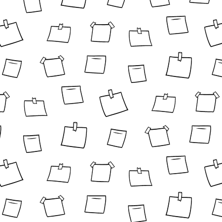 Hand drawn vector illustration of blank memo notes pattern.