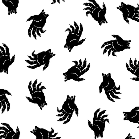Hand drawn vector illustration of halloween zombie hand pattern.
