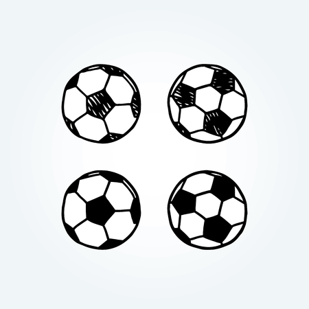 Hand drawn vector illustration of soccer ball.