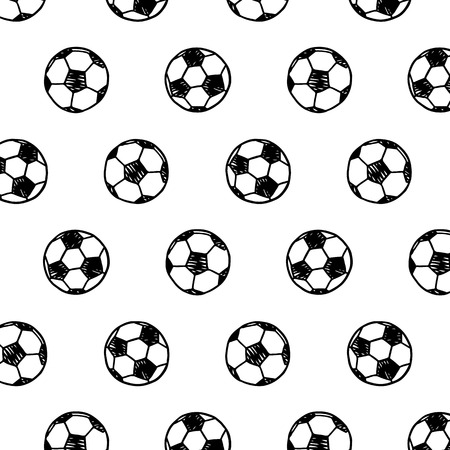 Hand drawn vector illustration of soccer ball pattern in cartoon style.