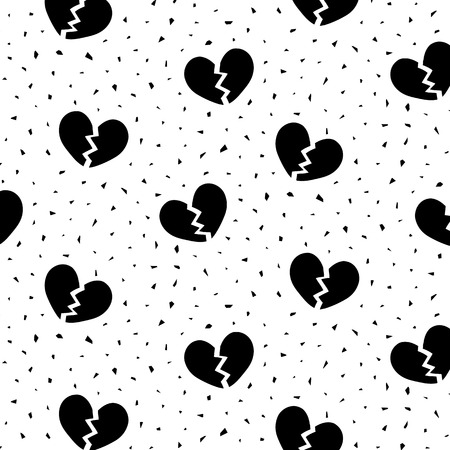 Hand drawn vector illustration of black broken heart pattern. 向量圖像