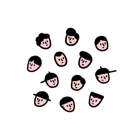 Hand drawn vector illustration of men face set in cartoon style. Man face avatar. doodle 向量圖像