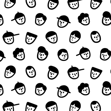 Hand drawn vector illustration of men face pattern in cartoon style.