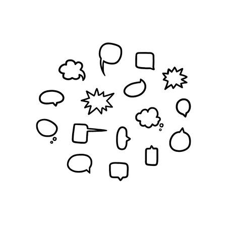 Hand drawn vector illustration of blank empty speech bubbles set in black and white.Talk,chat balloon.