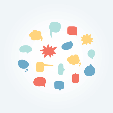 Hand drawn vector illustration of speech bubbles set. 向量圖像