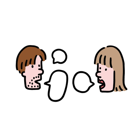 Hand drawn vector illustration of people talking in cartoon style. Men and  women couple speaking with speech bubble