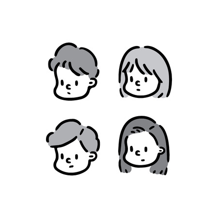Hand drawn vector illustration of face girl and boy set. 向量圖像