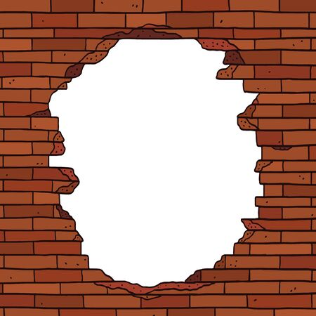 Hand drawn vector illustration of broken brown brick wall with blank space for text. Empty space inside border frame.