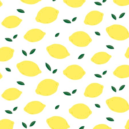 Hand drawn vector illustration of lemon and leaf pattern