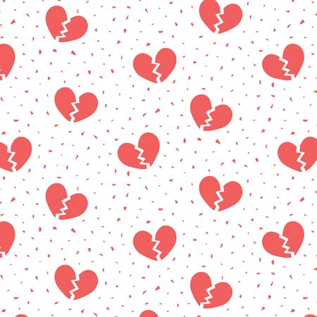 Hand drawn vector illustration of red broken heart pattern. 向量圖像